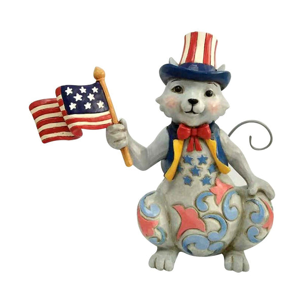 Jim Shore Pint Size Patriotic Cat w/Flag 6001086