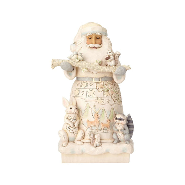 Jim Shore White Woodland Santa Statue 6001406