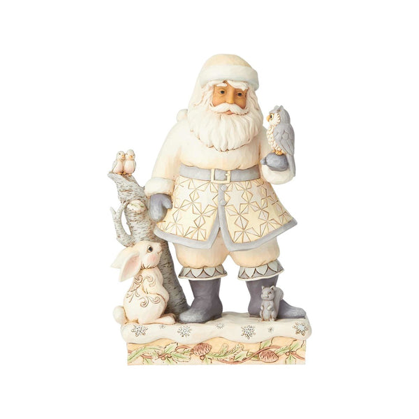 Jim Shore Friends for All Seasons - White Woodland Santa with Owl 6001407