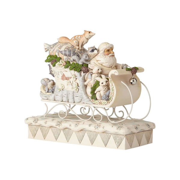 Jim Shore Sleigh Ride Season - White Woodland Santa in Sleigh 6001410
