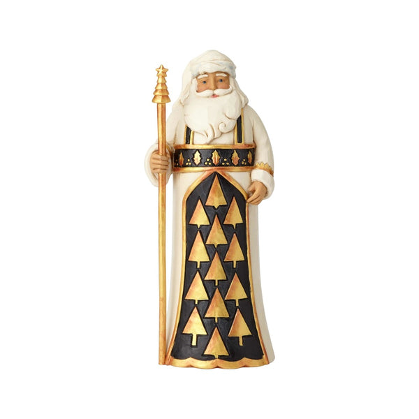 Jim Shore Season So Splendid Black & Gold Santa with Staff 6001434