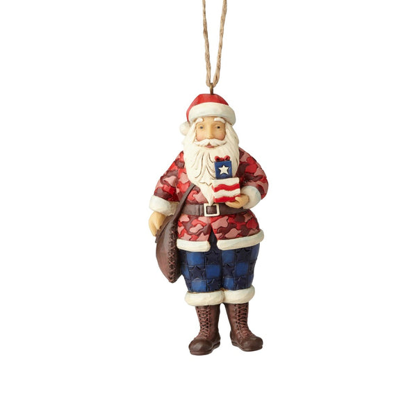 Jim Shore Camouflage Santa Ornament 6001502