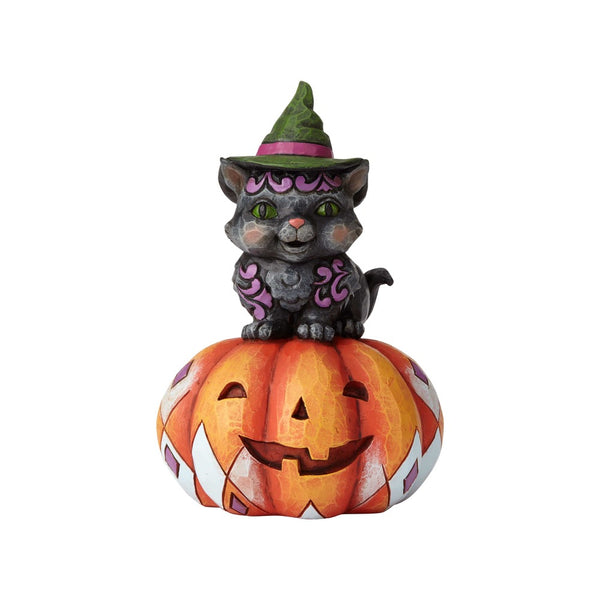 Jim Shore Pint Sized Black Cat onPumpkin 6001548