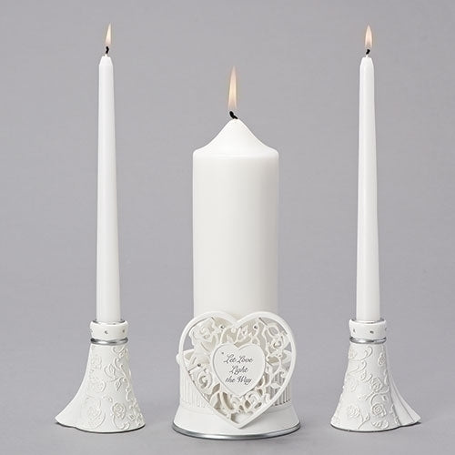 3PC Set Unity w/White Candles 60570