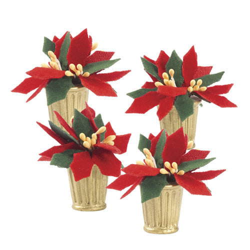 D56 Potted Poinsettias - Set Of 4 802460