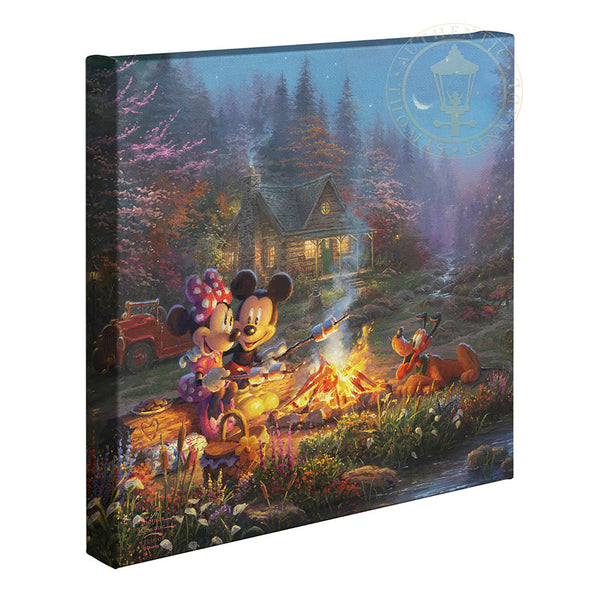 Kinkade Mickey &  Minnie Sweetheart Campfire Gallery Wrap 14x14 88286