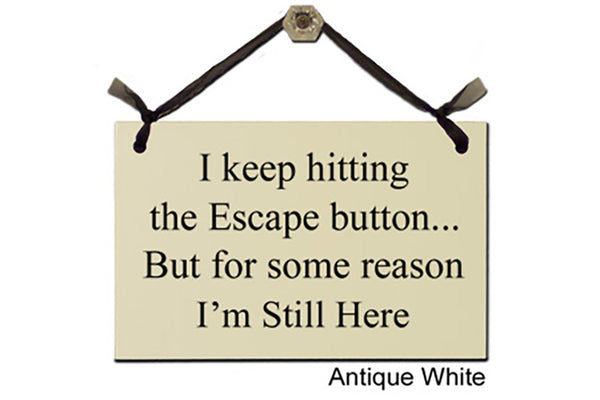 I keep hitting the Escape button...But for some reason I'm Still Here - Decorative Sign