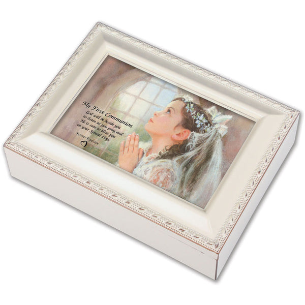 Cottage Garden 1st Communion Girl ~ Ivory Music Box MBC7017SI