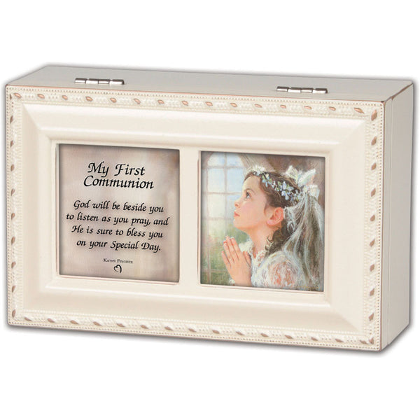 Cottage Garden First Communion - Girl Music Box PMC8009SI