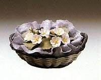 Lladro Flower Basket Small Gray Oval C1552.3