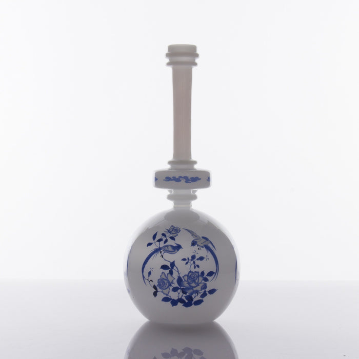 Ornate Round Base Bong by The China Glass Company - 11 Inches - White, Black