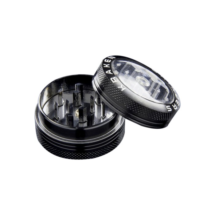 Kraken Metal Grinder with Handle - Clear Top - Two Pieces - 1.5 Inches