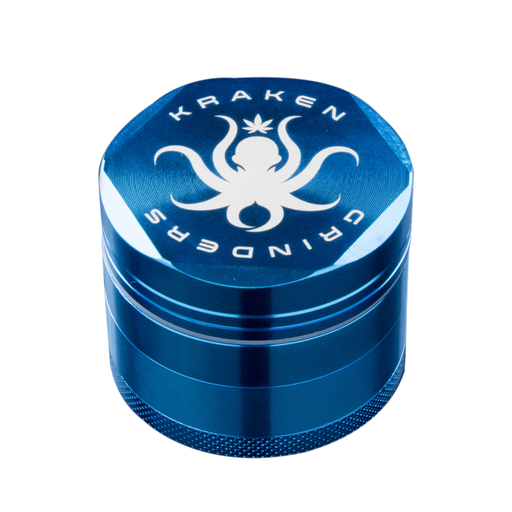 Large Four Piece Metal Grinder by Kraken - Gold/Blue - 2.5 Inches