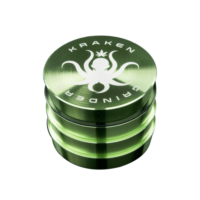 Kraken Metal Grinder - Tiered - Four Pieces - 2.2 Inches - Gold/Green
