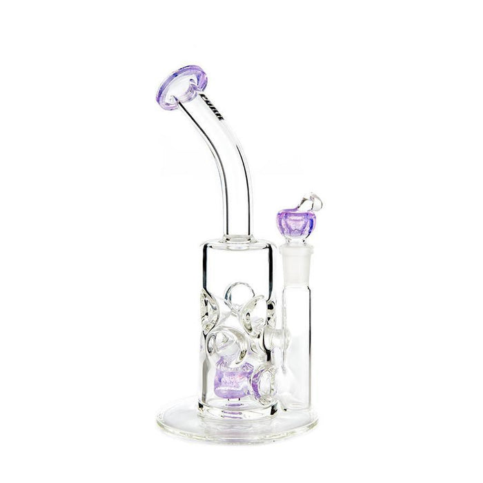 Swiss Honeycomb Bong by Purr Glass - 14mm - 9 Inches - Assorted Colors