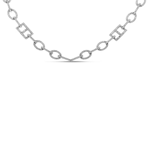 18K White Gold Necklace with Round Cut Diamonds 2.00CT
