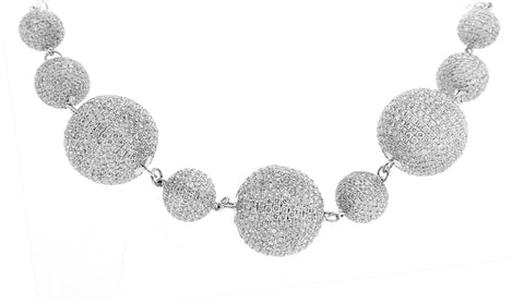 White Gold Necklace with White Diamond Balls