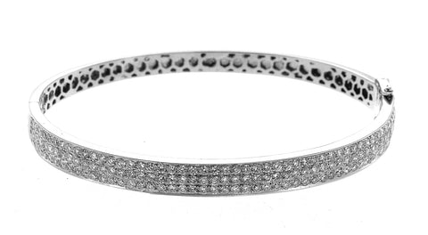 14K White Gold Three Row Diamond Bangle With Round Cut Diamonds 3.00CT
