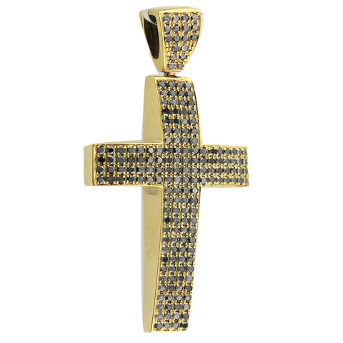 Unisex Black Gold Cross with Black Diamonds