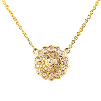 Diamond Flower Pendant with Diamond by the Yard Chain