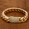 14K Yellow Gold Men's Cuban Bracelet 17MM With 2.45 CT Diamonds On The Lock