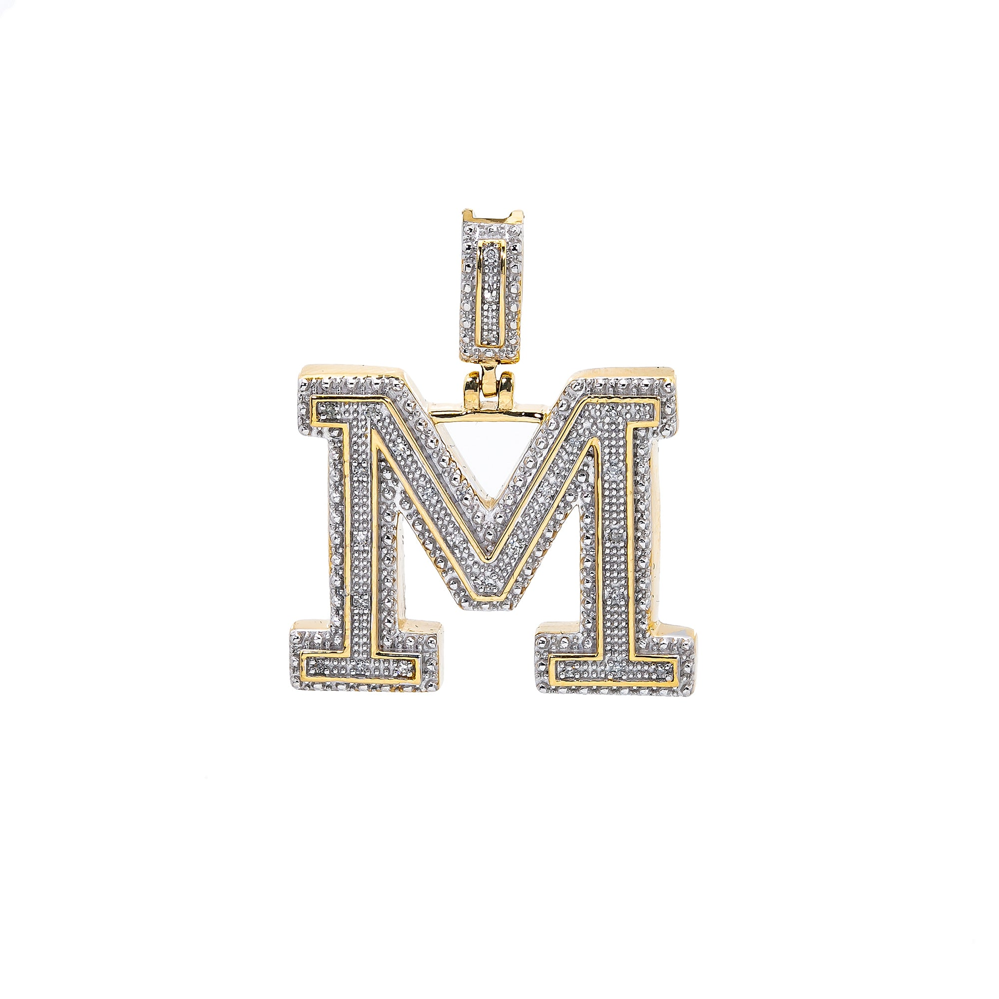 UNISEX DIAMOND INITIAL M PENDANT WITH 0.07 CT DIAMONDS