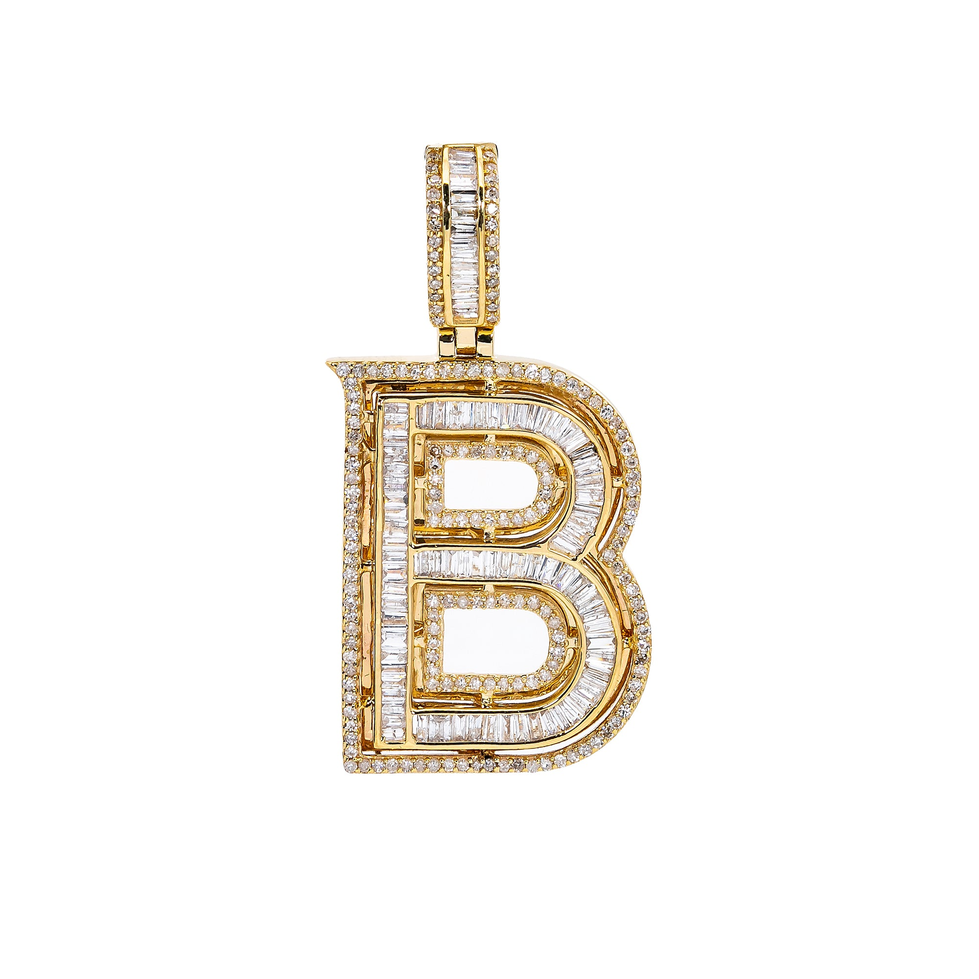 UNISEX DIAMOND INITIAL B PENDANT WITH 1.37 CT DIAMONDS