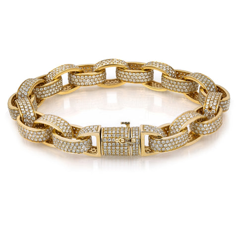 14K Yellow Gold Custom Diamond Bracelet With 21.41 CT Diamonds