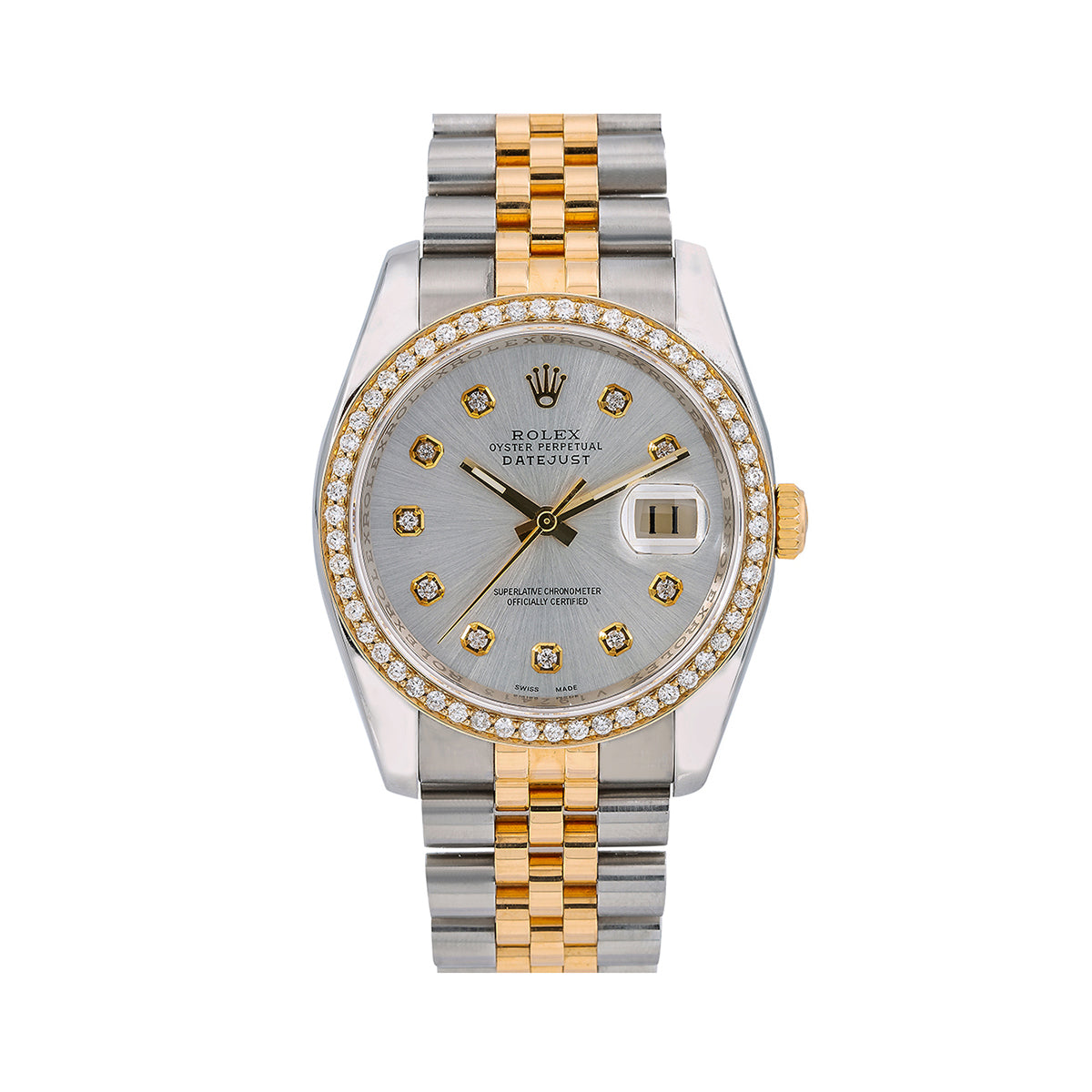 Rolex Datejust Diamond Watch, 116233 36mm, Silver Mother of Pearl Dial With 1.40 CT Diamonds