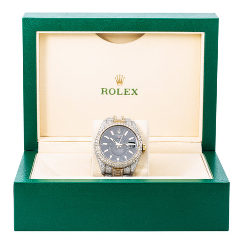 Rolex Sky-Dweller Diamond Watch, 326933 42mm, Black Dial With Flower Setting 31.50 CT Diamonds