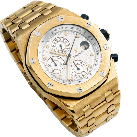 18K Yellow Gold Audemars Piguet Royal Oak Offshore Chronograph 25721BA 42mm White Dial
