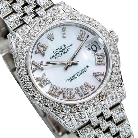 Rolex Datejust Diamond Watch, 178240 31mm, Blue Mother Of Pearl Dial with 9.25CT Diamonds