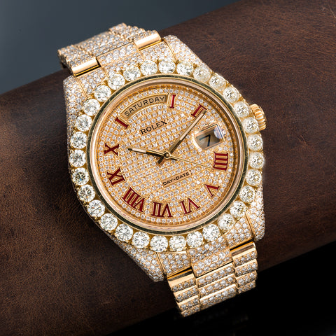 18K Yellow Gold Rolex Diamond Watch, Day-Date II 218238 41mm, Champagne with Red Roman Numerals Dial with 21.75ct Diamonds