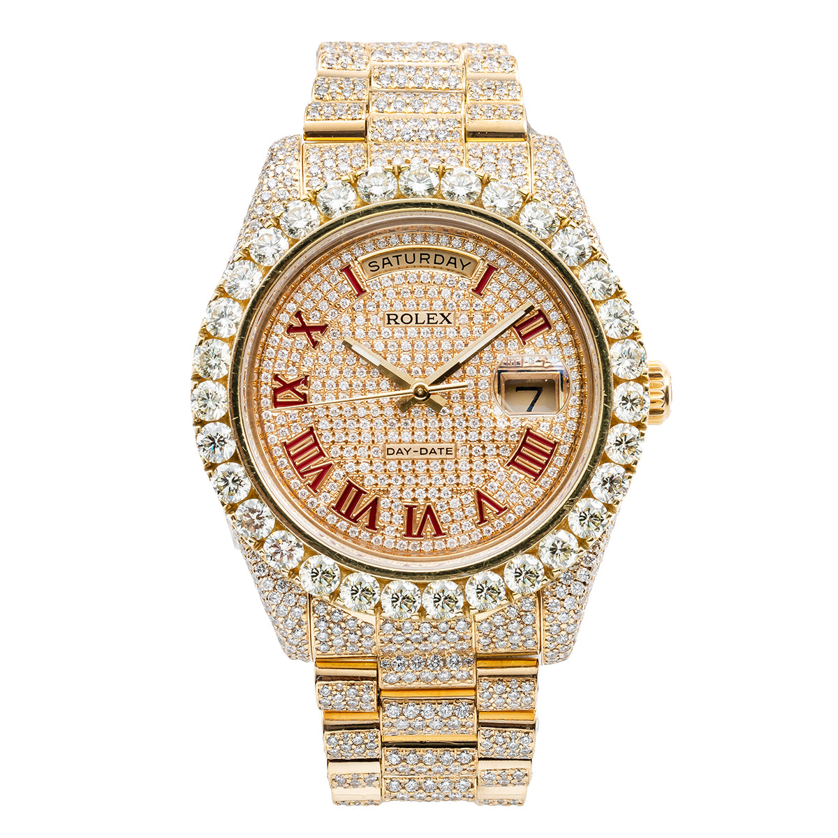 02b3b8d39d728 18K Yellow Gold Rolex Day-Date II 218238 41mm Champagne with Red Roman  Numerals Dial