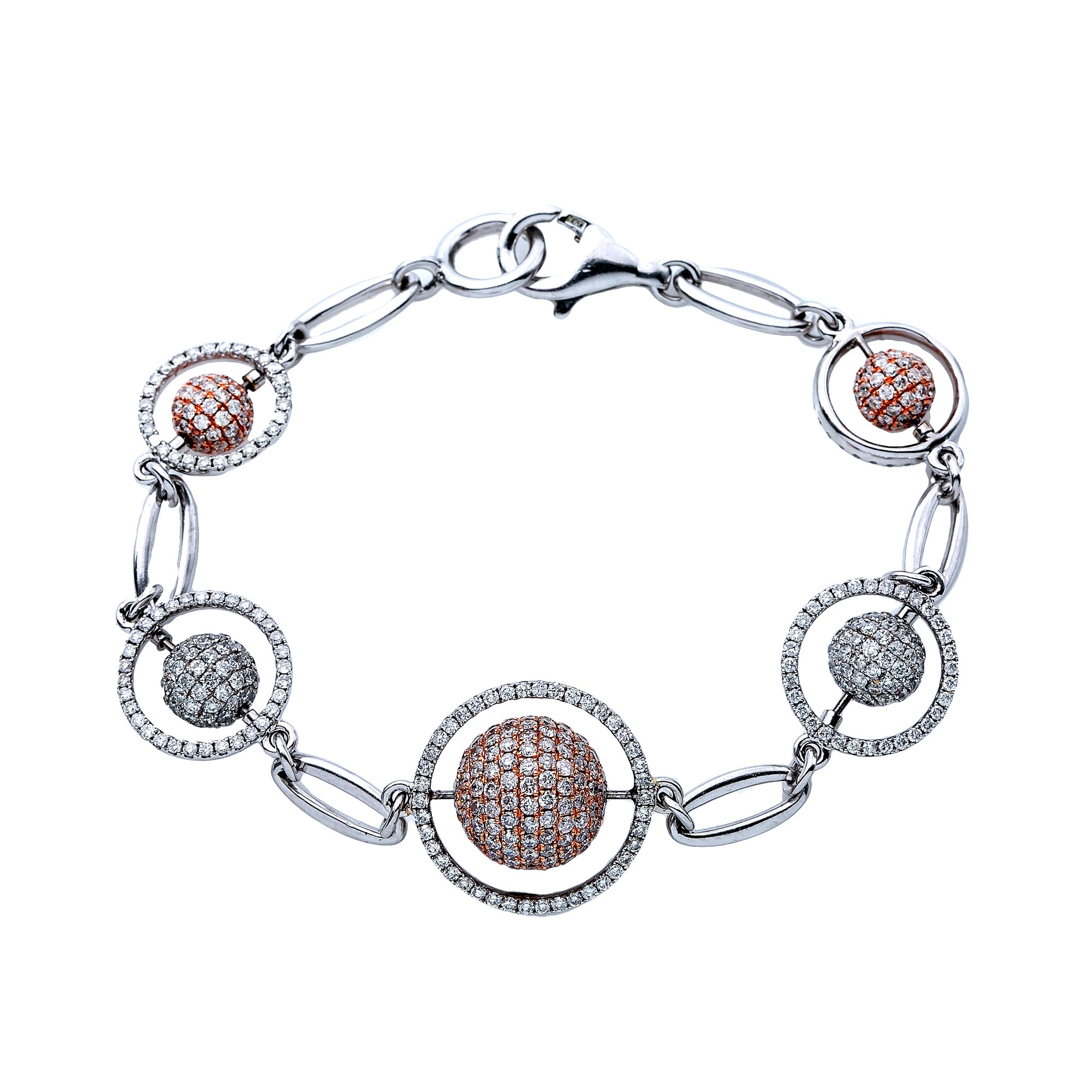 18K White  Gold  Women Bracelet With Small Balls