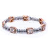 14K White And Rose Gold Women Bracelet With Small Squares