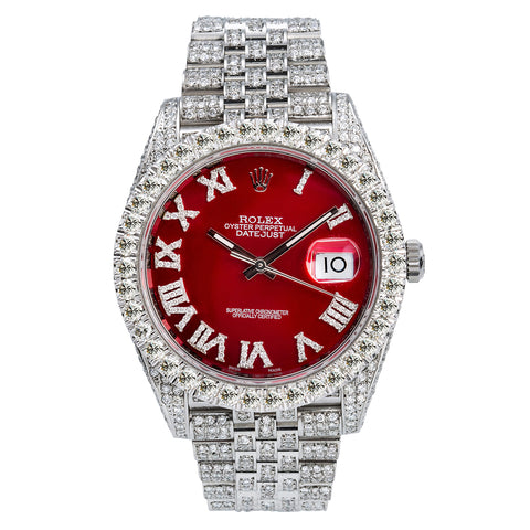 Rolex Datejust II Diamond Watch, 126300 41mm, Red Dial With 11.75CT Diamonds