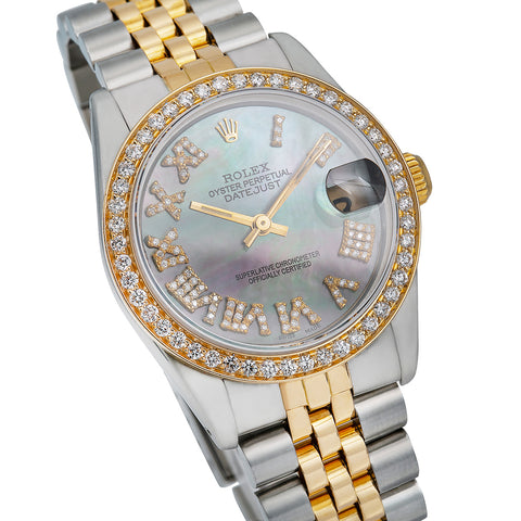 Rolex Datejust Diamond Watch, 68273 31mm, Pink and Green Diamond Dial With Two Tone Bracelet