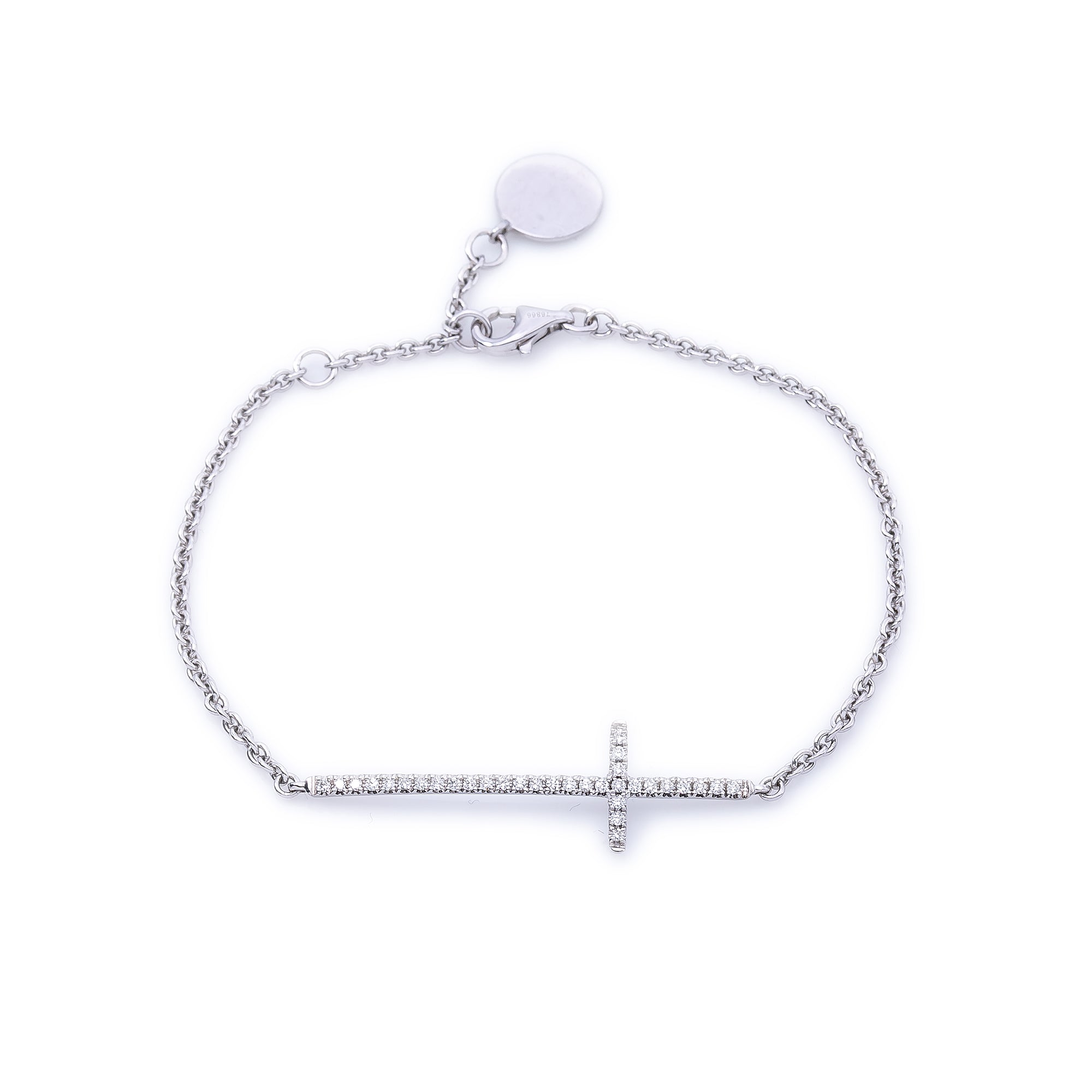 18K White Gold Women Bracelet With Small Cross