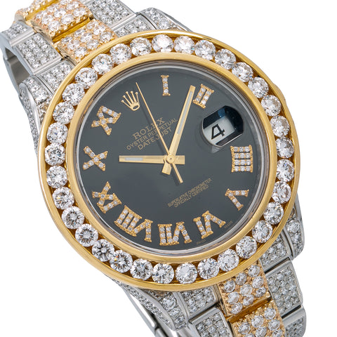 Rolex Datejust II Diamond Watch, 116333 41mm, Black Diamond Dial With 16.25 CT Diamonds