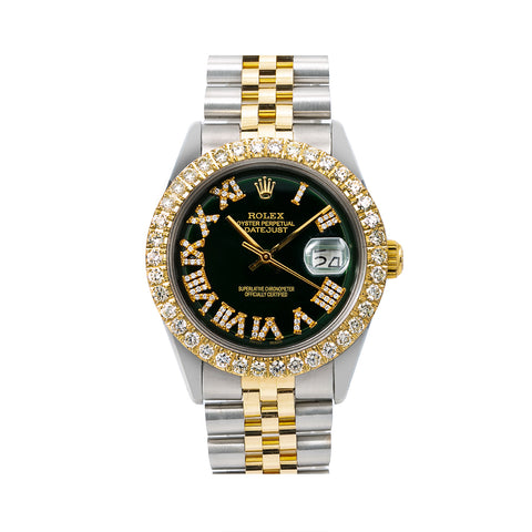 Rolex Datejust 1603 36MM Black Diamond Dial With 3.75 CT Diamonds