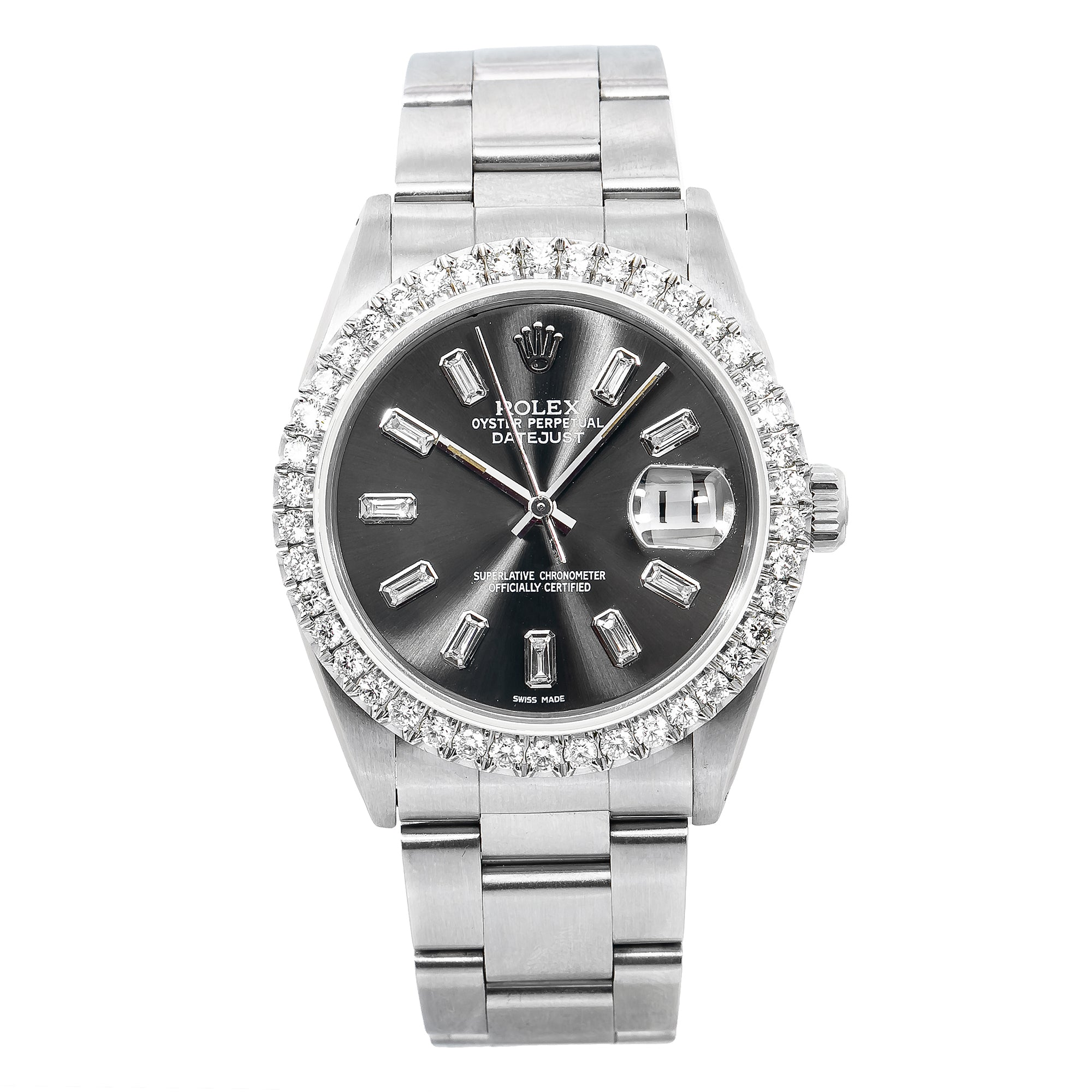 Rolex Datejust 16014 36MM Black Diamond Dial With Stainless Steel Oyster Bracelet