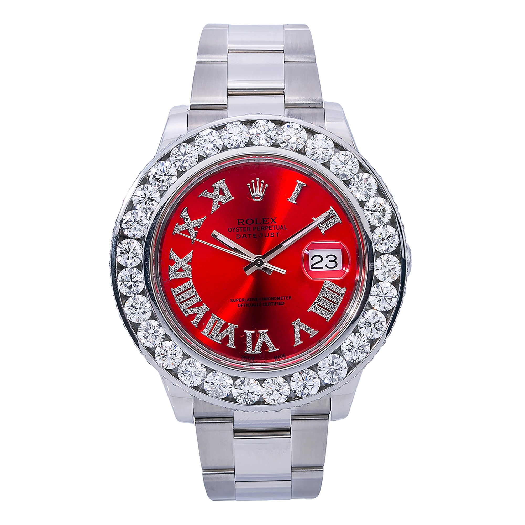Rolex Datejust II 116300 41MM Red Diamond Dial With Stainless Steel Oyster Bracelet