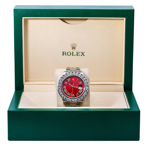 Rolex Datejust II Diamond Watch 116300 41MM Red Diamond Dial With Stainless Steel Oyster Bracelet