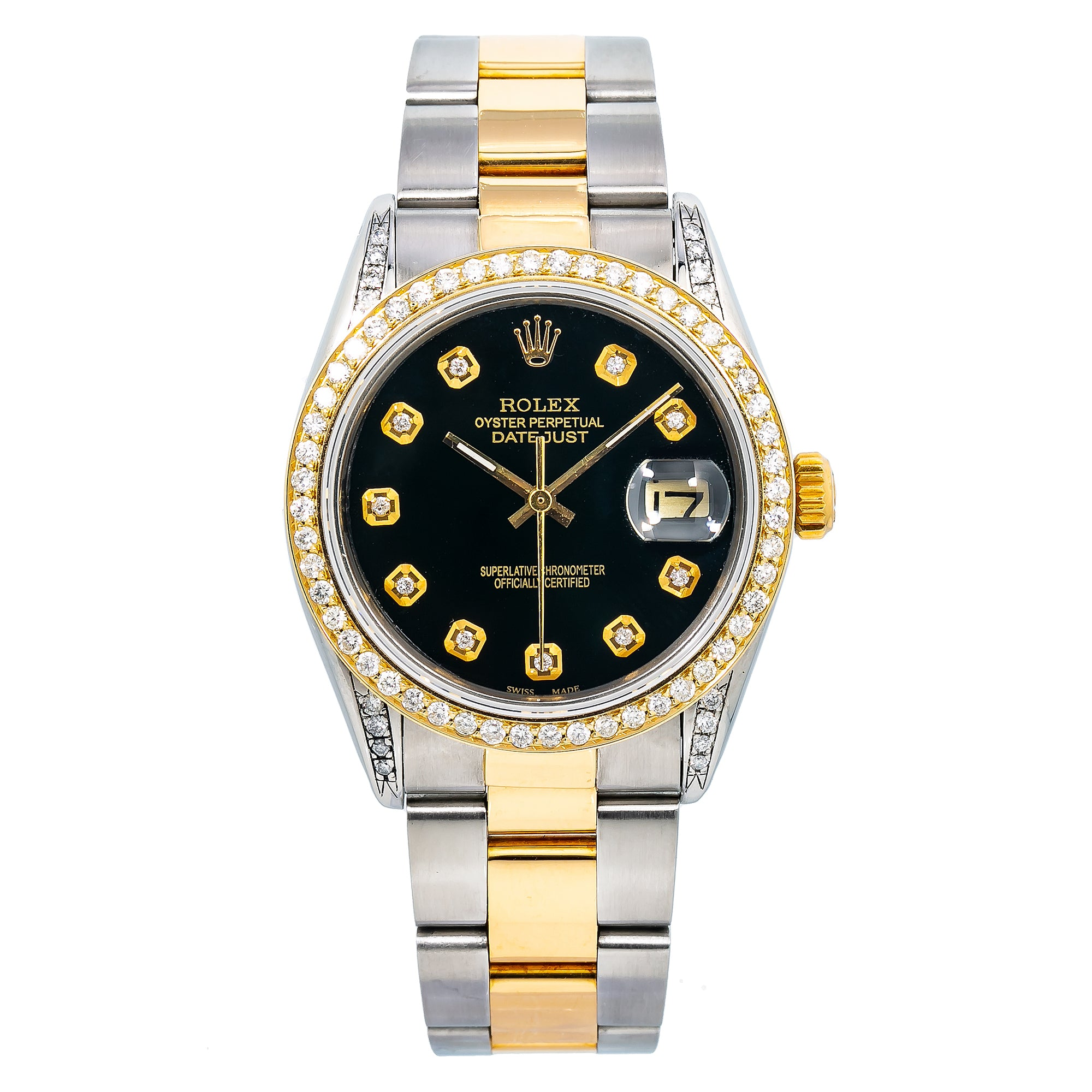 Rolex Oyster Perpetual Date 1505 34MM Black Diamond Dial With Stainless Steel Bracelet