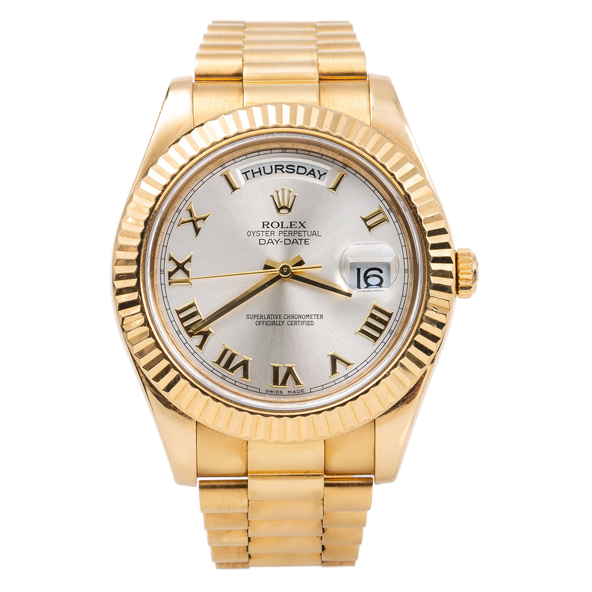 5f089cb306119 18K Yellow Gold Rolex Day-Date II President 218238 41mm Silver with Roman  Numerals Dial