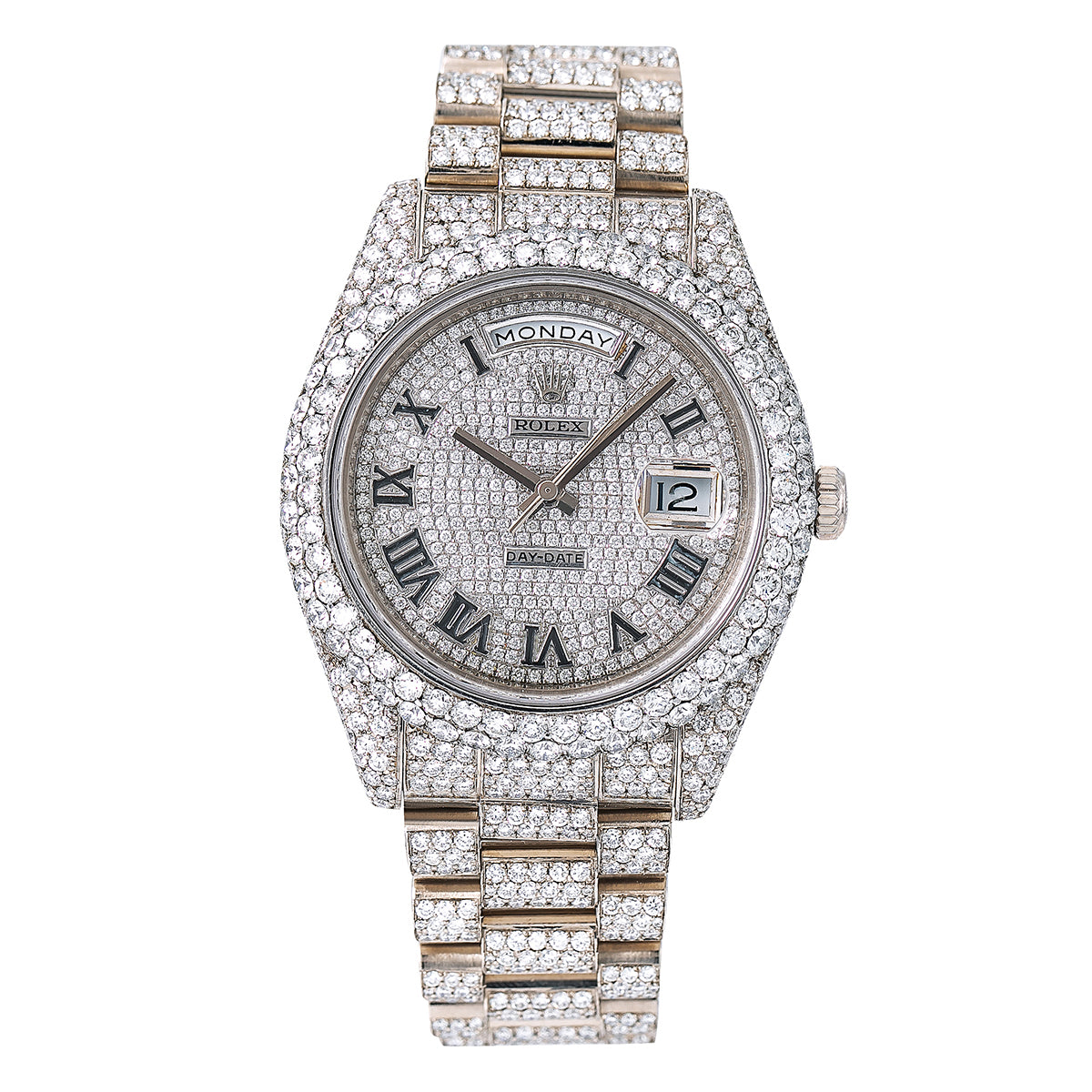 Rolex Day-Date II 218239 41MM Silver Diamond Dial With 18K White Gold Bracelet