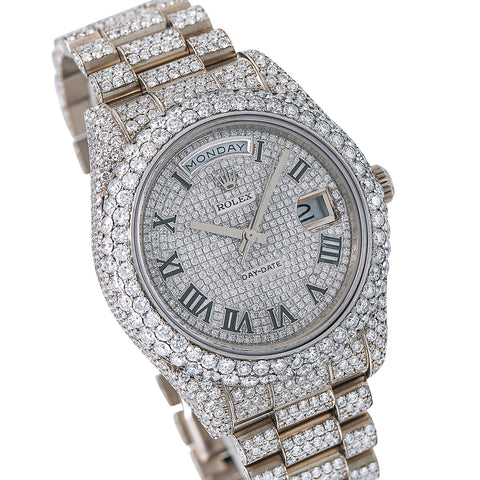 Rolex Day-Date II Diamond Watch, 218239 41mm, Silver Diamond Dial With 18K White Gold Bracelet