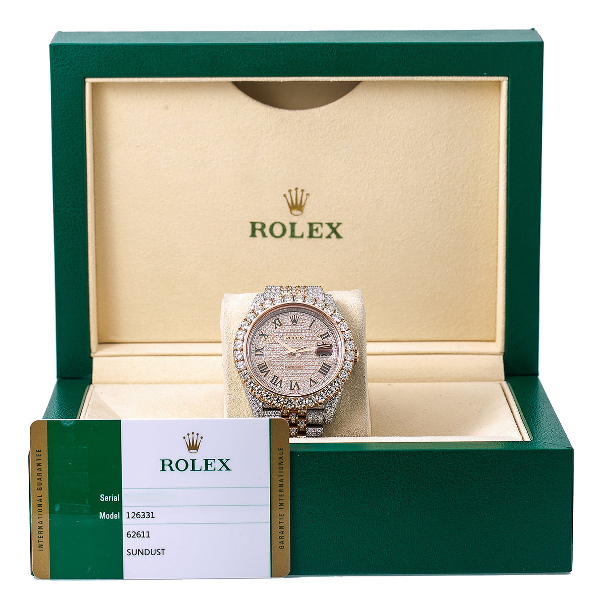 Rolex Datejust II 126331 41MM Rose Gold Diamond Dial With Two Tone Jubilee Bracelet