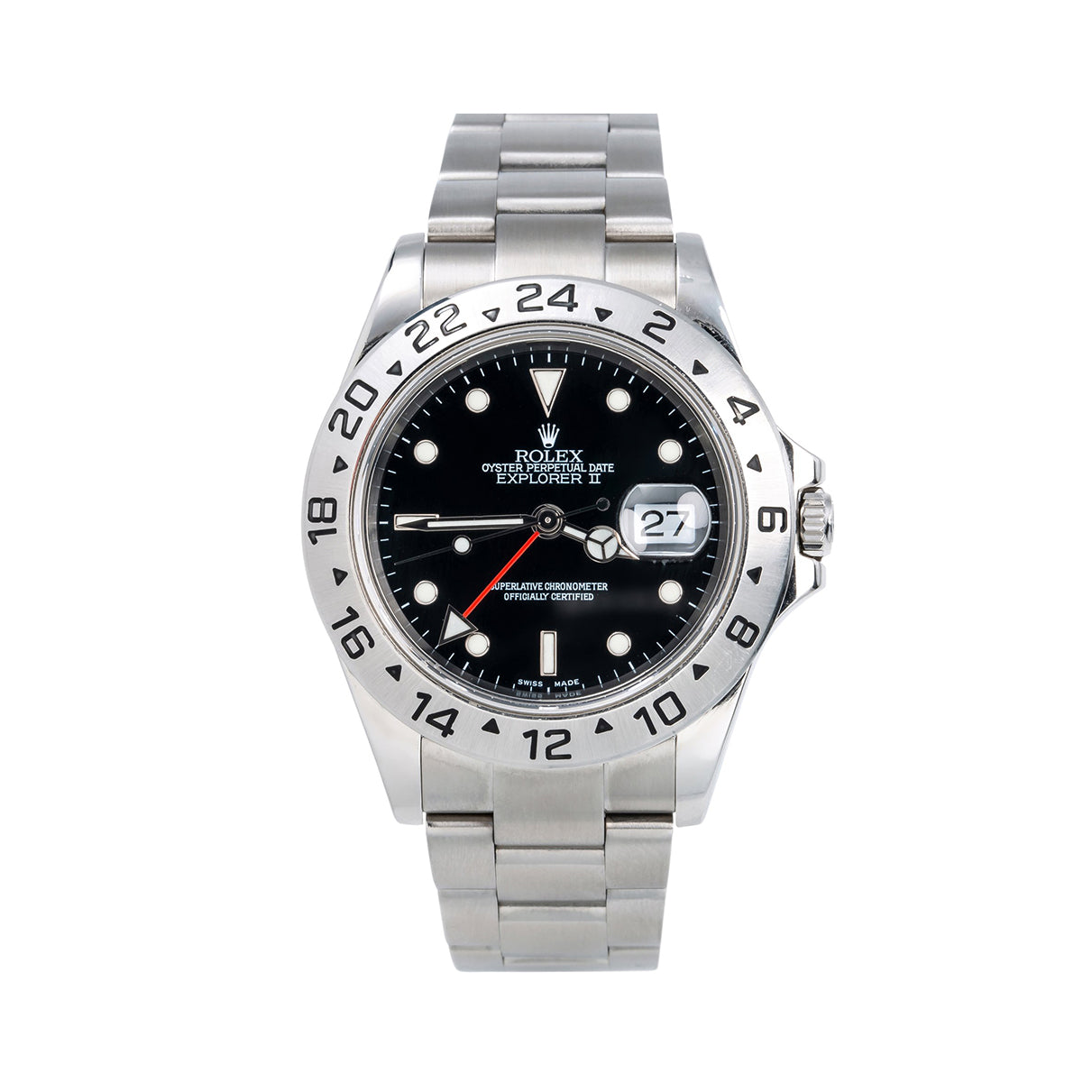 Stainless Steel Rolex Explorer II 16570 40mm Black Dial